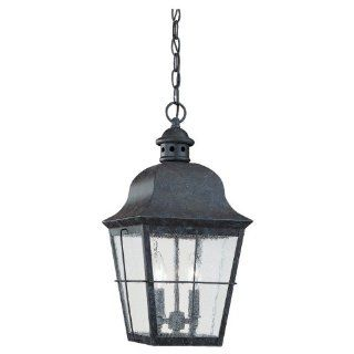 Sea Gull Lighting 6062 46 Two Light Colonial Outdoor Pendant, Clear Seeded Glass, Oxidized Bronze   Pendant Porch Lights