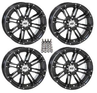 "STI HD3 ATV Wheels/Rims Black 12"" Honda Rincon Yamaha Rhino Kawasaki Brute Force Suzuki KingQuad (4) Automotive"