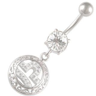 "navel bars cute belly rings dangle sexy dangling button Libra zodiac 14Gauge (1.6mm), 3/8"" Inch (10mm) Clear Swarovski Crystal Ferido navel dangly bar AEAT   Pierced Body Piercing Jewelry CR_296 Jewelry"