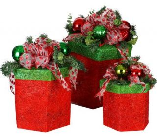 170 Lighted 3 Piece Set of Hexagon Shaped Decorated Gift Boxes —
