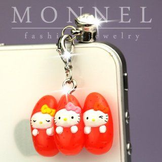 Ip302 Luxury Hello Kitty 3d Charm Anti Dust Plug Cover for Iphone 4 4s Cell Phones & Accessories