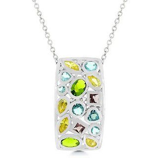 Jigsaw Multi colored Cubic Zirconia Sparkling Pendant (Chain Not Included) Jewelry