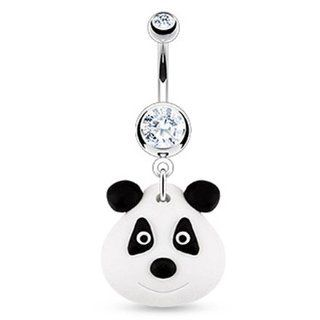Black & White Clay Panda Bear Navel Ring Dangle Belly Button Piercing Jewelry w/Clear CZ Gem Jewelry