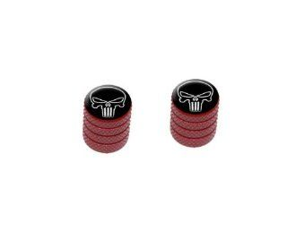 Death Skull Black on Black Motorcycle Bicycle Bike Tire Rim Wheel Aluminum Valve Stem Caps   Red Color Automotive