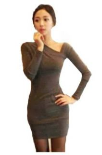 CA Fashion Women's Stretch Hip wrapped Asymmetric Bodycon Mini Dress