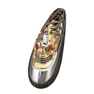 Drag Specialties Skull Head Front Fender Ornament     /Chrome/Gold Automotive
