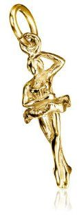 14k Yellow Gold Ballet Dancer Charm Jewelry