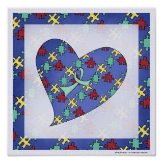 Autism Awareness Puzzle Piece Heart Print