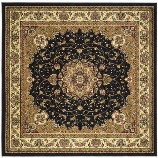 "8' x 8' Square Safavieh Area Rug LNH329A 8SQ Black/Ivory Color Machine Made Turkey ""Lyndhurst Collection""   Runners"