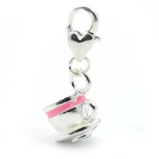 "Pro Jewelry ""Pink Teacup and Saucer"" Clip on Dangling Charm with Heart Clasp for Chain Link Charm Bracelet Jewelry"