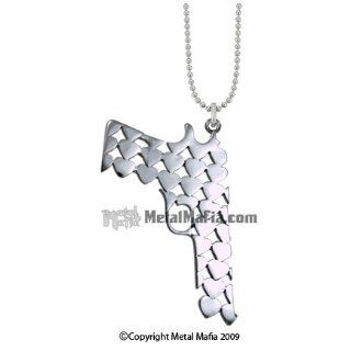 SILVER GUN NECKLACE SHAPED FROM TINY HEARTS Costume Accessories Clothing