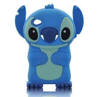 Minidandan Cute Cartoon Stitch Ear Movable Silicone Soft Case Cover for Apple Ipod Touch 4 (blue) Cell Phones & Accessories
