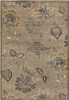 6.6' x 9.5' Paisley Flowers Light Blue and Tan Area Throw Rug   Machine Made Rugs