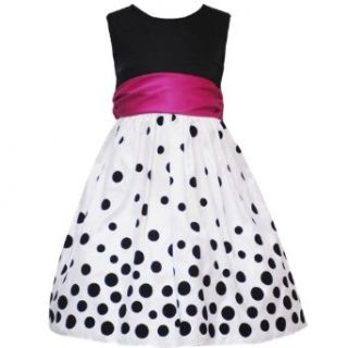 Rare Editions Little Girls 4 6X WHITE BLACK SHANTUNG GRADIENT FLOCK DOT Special Occasion Wedding Flower Girl Holiday Party Dress 6X RRE 4509H H345090 Clothing