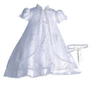 Lauren Madison baby girl Christening Baptism Special occasion Newborn Embroidered dress gown, White, 9 12 Months Infant And Toddler Christening Apparel Clothing