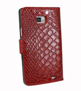 Red Snake Skin PU Leather Flip Pouch Cover Case For Samsung Galaxy SII S2 i9100 IMPORTANT NOT compatible with Epic Touch 4G, Sprint or T Mobile versions Cell Phones & Accessories