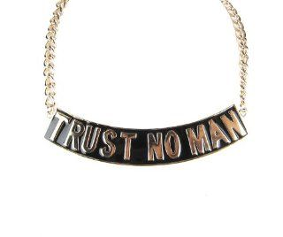 Trust No Man Necklace Gold and Black Women Fashion Celebrity Inspired Chain Link   As Seen on Brooke Bailey (Basketball Wives LA) and Nicki Minaj Jewelry