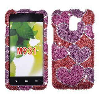 FULL DIAMOND CRYSTAL STONES COVER CASE FOR HUAWEI PREMIA M931 PINK HEART BURST Cell Phones & Accessories
