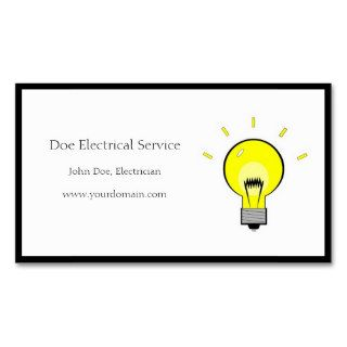 Electrician Electrical Contractor Light Bulb Business Card Template