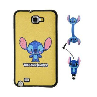 Euclid+   Yellow Stitch & Lilo Trouble Maker Style TPU Soft Case Cover for Samsung Galaxy Note 1 I I9220 with Stitch Style Anti Dust Stylus Pen and Stitch Style Cable Tie Cell Phones & Accessories