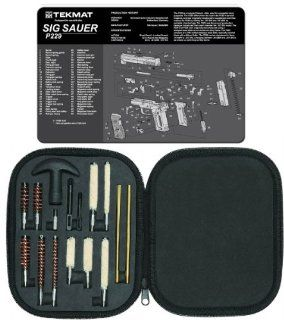 Ultimate Arms Gear Gunsmith & Armorer's Cleaning Work Bench Gun Mat SIG Sauer SIG P229 + Professional Tactical Cleaning Tube Chamber Barrel Care Supplies Kit Deluxe 17 pc Handgun Pistol Cleaning Kit in Compact Molded Field Carry Case for .22 / .357