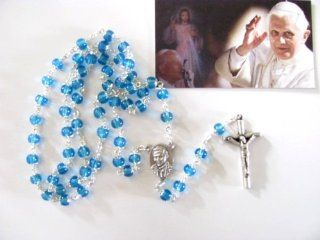 Blessed By Pope Benedit XVI Beatus John Paul II Rosary Rosaries 6mm Glass bead double caps rosary in box, J 353 LT Blue Health & Personal Care