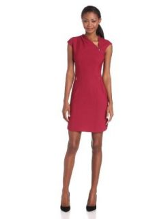 Rachel Roy Collection Women's Zipper Neck Cap Sleeve Tropical Sheath Dress, African Jewel, 10