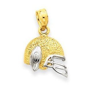 14k Gold Two tone Football Helmet and Ball Pendant Jewelry