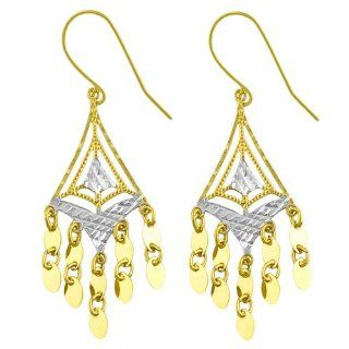 14 Karat Two tone Gold Diamond cut Chandelier Earrings Jewelry