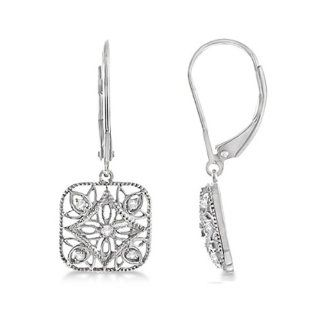 0.10ct Antique Style Designer Square Shaped Diamond Drop Earrings For Women .925 Sterling Silver Allurez Jewelry