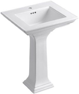 Kohler K 2344 1 0 Memoirs Pedestal Lavatory with Stately Design and Single Hole Faucet Drilling, White   Pedestal Sinks