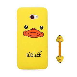 Euclid+   Yellow B.Duck Style Hard Case Cover for HTC Butterfly S 9060 with Cartoon Chicken Cable Tie Cell Phones & Accessories