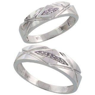 10k White Gold Diamond Wedding Rings Set for him 6mm and her 5mm 2 Piece 0.06 cttw Brilliant Cut, ladies sizes 5   10, mens sizes 8   14 Jewelry