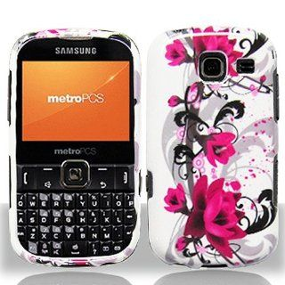 Pink White Flower Hard Cover Case for Samsung Comment Freeform III 3 SCH R380 Cell Phones & Accessories