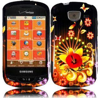 Black Yellow Flower Hard Cover Case for Samsung Brightside SCH U380 Cell Phones & Accessories