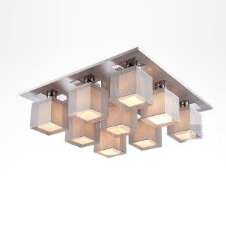 Modern Square Aluminum Boxes Living Room Ceiling Light  Stainless Steel Top Base bedroom Dining Room Ceiling Lighting Fixture (9 lights(64*64*18cm))   Close To Ceiling Light Fixtures