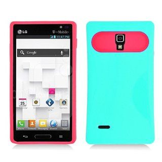 Turquoise Aqua Blue Hot Pink Hard Soft Gel Dual Layer Cover Case for LG Optimus L9 P769 Cell Phones & Accessories