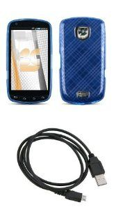 Samsung Droid Charge (Verizon) Premium Combo Pack   Blue Plaid Thermoplastic Polyurethane TPU Gel Skin Case Cover + FREE Atom LED Keychain Light + Micro USB Data Cable Cell Phones & Accessories