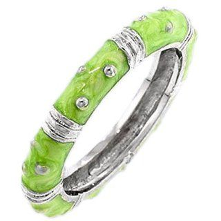 Fun Green Enamel Sterling Silver Stack Ring Costume jewelry Glitzs Jewelry