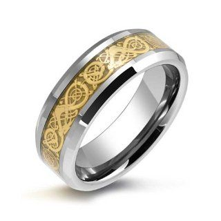 Bling Jewelry Tungsten Celtic Dragon Gold Inlay Flat Fit Wedding Band Jewelry