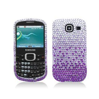 Purple Silver Waterfall Bling Gem Jeweled Crystal Cover Case for Samsung Comment 2 Freeform 4 SCH R390 Cell Phones & Accessories