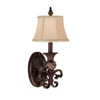 Capital Lighting 1876CB 436 Wall Sconce with Beige Fabric Shades, Chesterfield Brown Finish