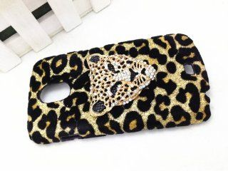 Bling Shiny 3D Bow Golden Champagne Leopard Special Party Case Cover For Samsung Galaxy Light SGH T399 (T Mobile) (Panthers Head) Cell Phones & Accessories