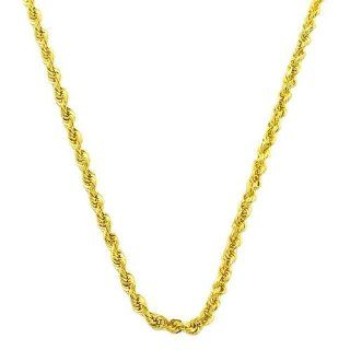 14 Karat Yellow Gold Diamond Cut Rope Chain (1.4 mm Thick, 18 inch) Jewelry