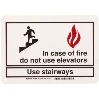 "Brady 22498 10"" Width x 7"" Height B 401 Plastic, Black on White Exit and Directional Sign, Legend ""In Case Of Fire Do Not Use Elevatorsetc"" (with Picto) Industrial Warning Signs"