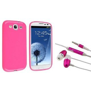 Everydaysource Compatible with Galaxy S III i9300 Hot Pink Jelly TPU Rubber Case + Hot Pink In ear (w/on off) Stereo Headsets Cell Phones & Accessories