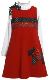 Red Sequin Bow Scottie Puppy Dog Corduroy Jumper Dress RD2BA,Bonnie Jean Little Girls Jumper Dress Clothing
