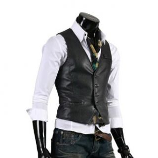 Zicac Mens Top Designed Casual Slim Fit Skinny PU Vest Waistcoat Outerwear Vests (Asia LUS S, Black) at  Men�s Clothing store