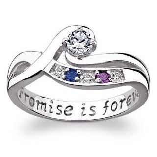 Sterling Silver Couple's Genuine Birthstone & Diamond Cubic Zirconia CZ Promise Ring Jewelry