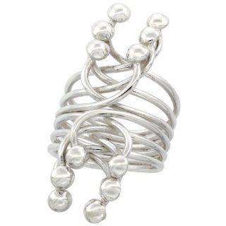 Sterling Silver Multiple Wire Wrap Horse shoe Shape with Half Ball Ends Ring Handmade, 1 9/16 inch Long Long Wrap Rings For Women Jewelry
